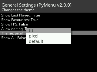 PyMenu General Settings